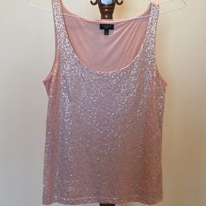 Talbots peach sequin lined tank top